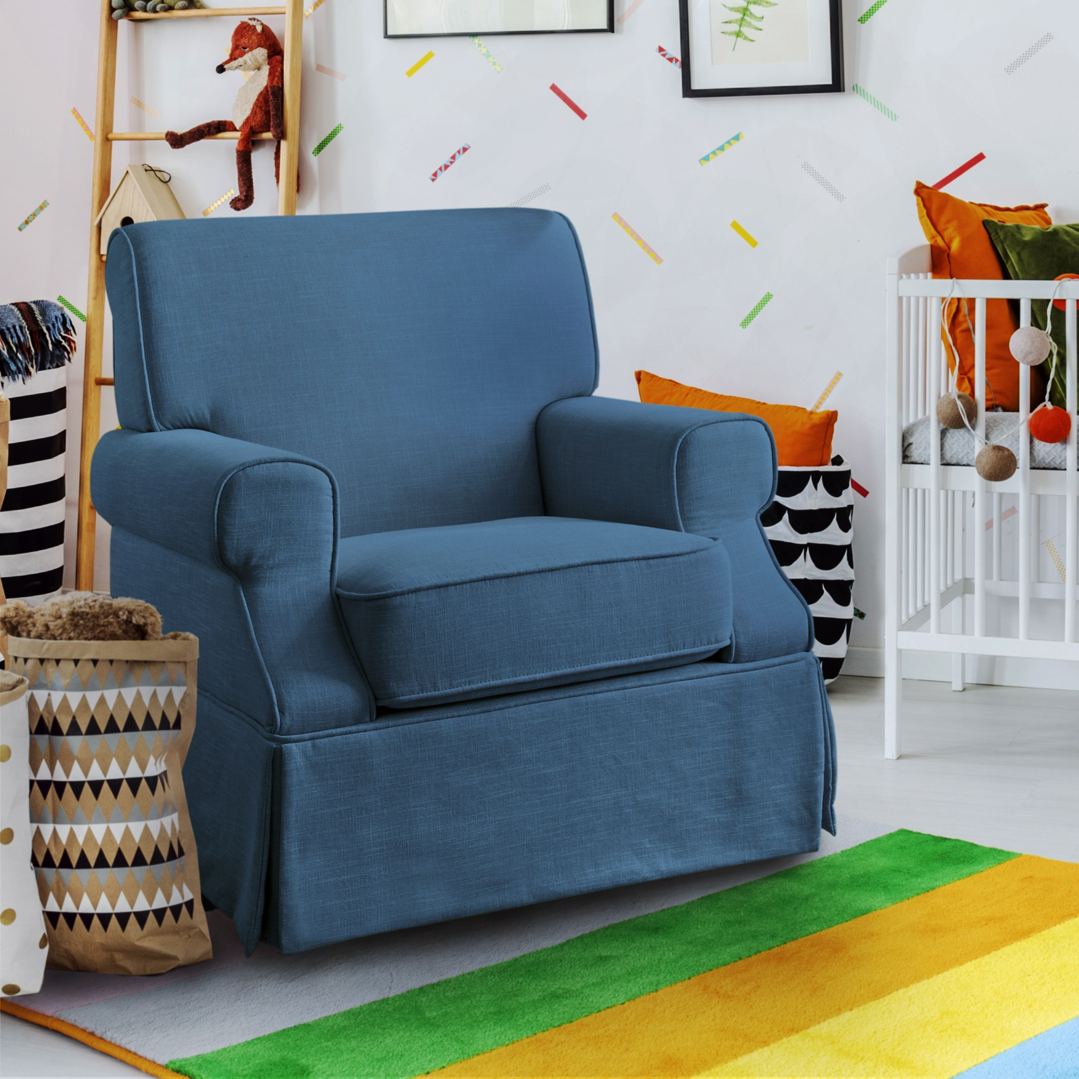 Furniture of America Adel Transitional Rolled Arm Glider ...