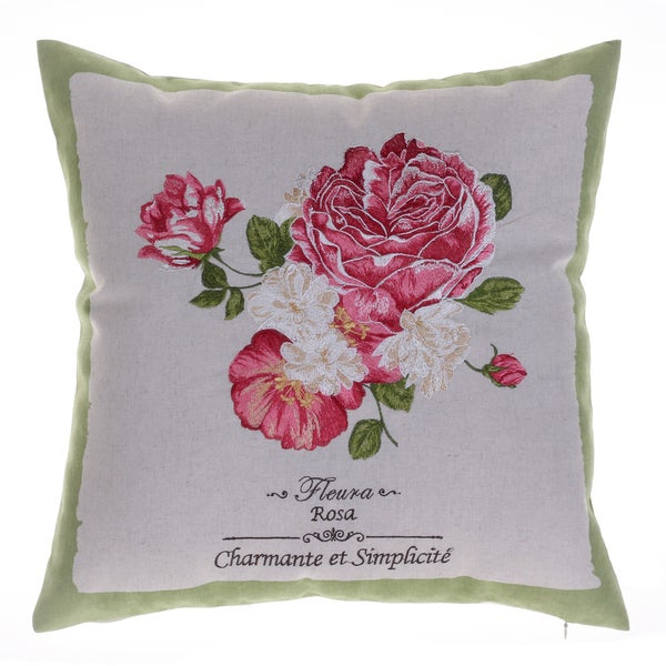 Rose Embroidered 18-inch x 18-inch Throw Pillow