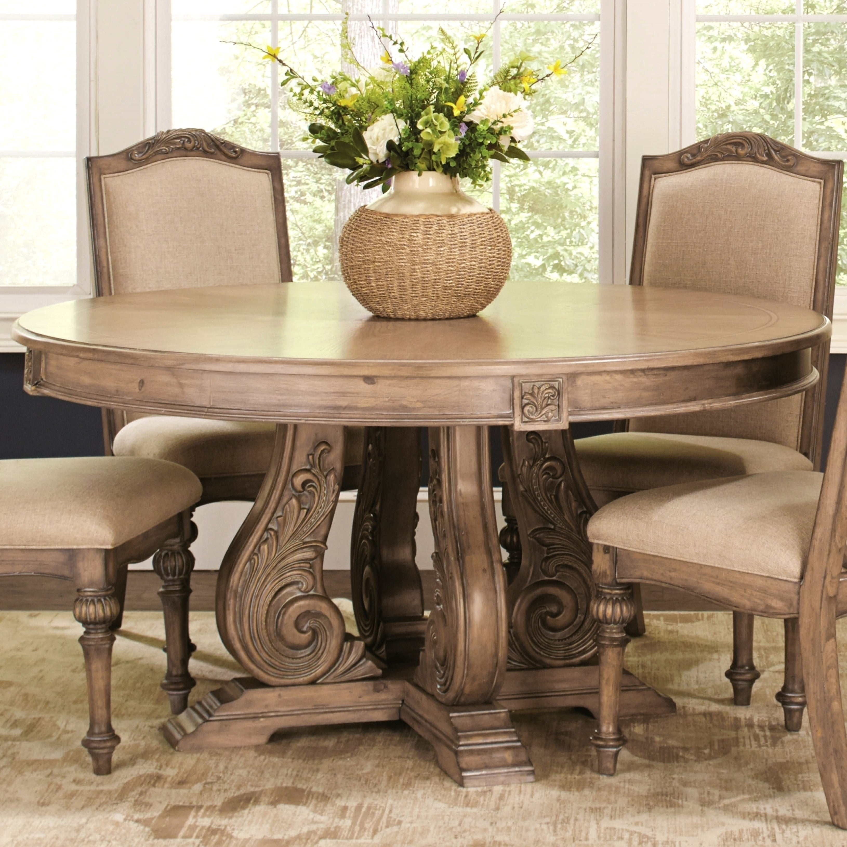 La Bauhinia French Antique Carved Wood Design Round Dining Table - Beige
