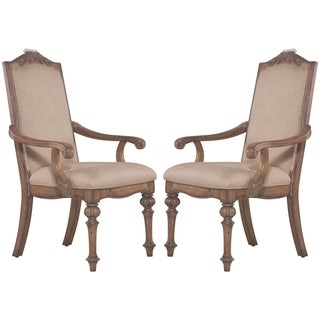 La Bauhinia French Antique Carved Wood Design Dining Arm Chairs (Set of 2)