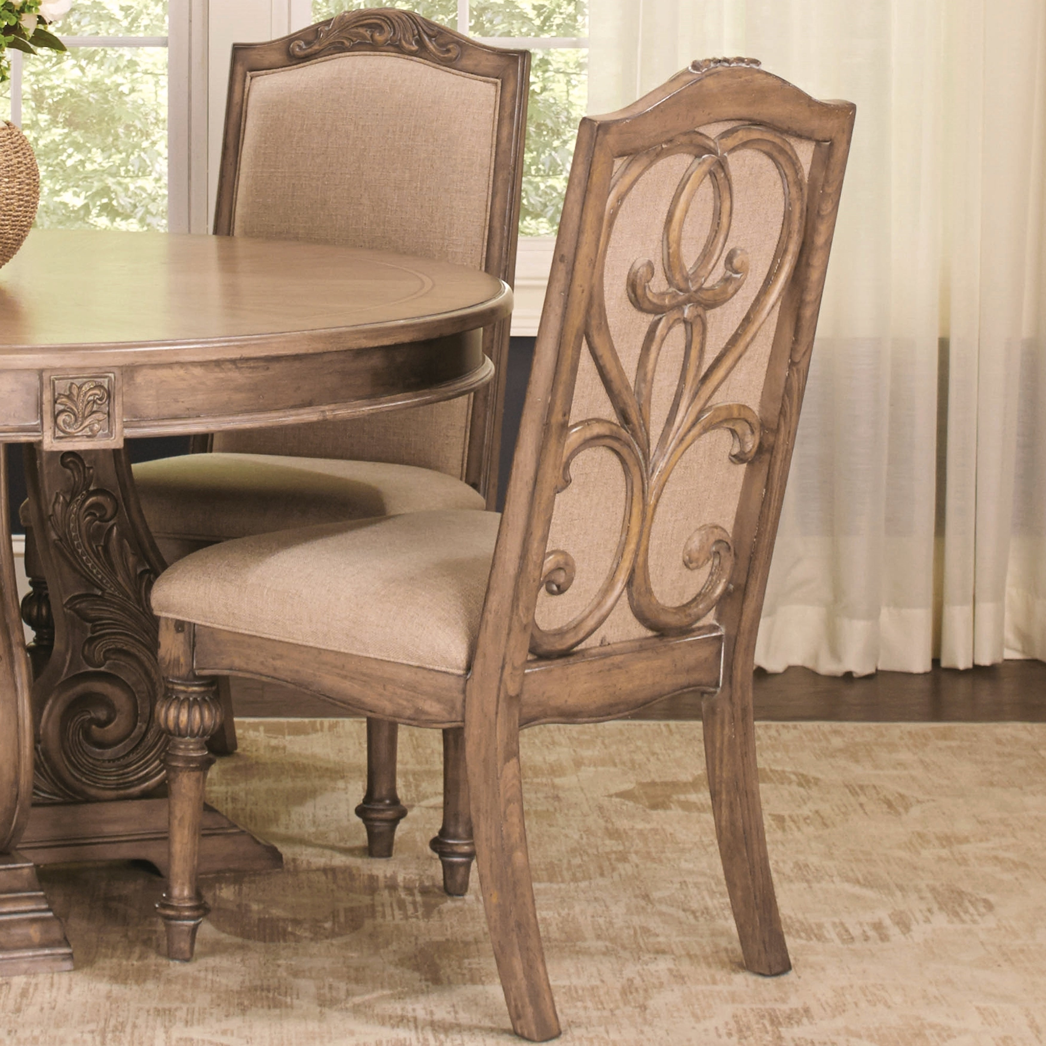 La Bauhinia French Antique Carved Wood Design Dining Chairs Set Of 2