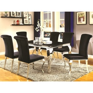 Cabriole Design Stainless Steel with Black Tempered Glass Dining Set
