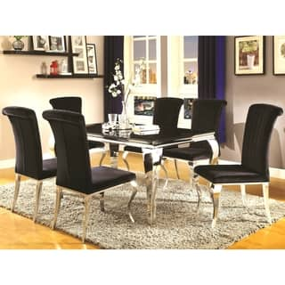 cabriole design stainless steel with black tempered glass dining set - Glass Dining Table And Chairs