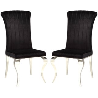 Cabriole Design Stainless Steel with Black Velvet Dining Chairs (Set of 4)