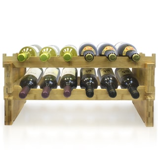 Bamboo 12-botte 2-tier Wine Rack