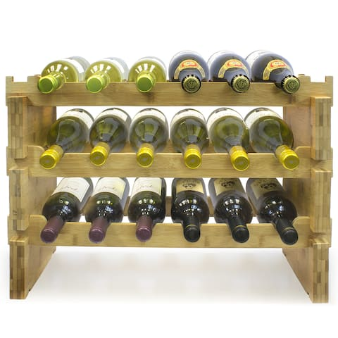 Bamboo 3-tier 18-bottle Wine Rack