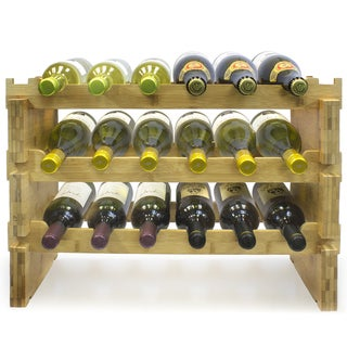 Bamboo 3-tier 18-bottle Wine Rack