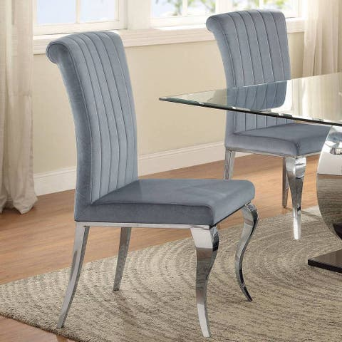 Cabriole Design Stainless Steel with Grey /Silver Velvet Dining Chairs (Set of 4)