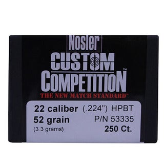 Nosler 22 Caliber Bullets Custom Competition, 52 Grains, Hollow Point Boat Tail, Per 250