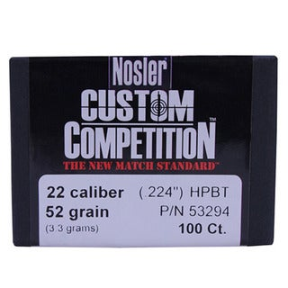 Nosler 22 Caliber Bullets Custom Competition, 52 Grains, Hollow Point Boat Tail, Per 100