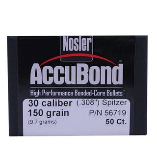 Nosler 30 Caliber Bullets AccuBond, 150 Grains, Bonded Spitzer Boat Tail, Per 50