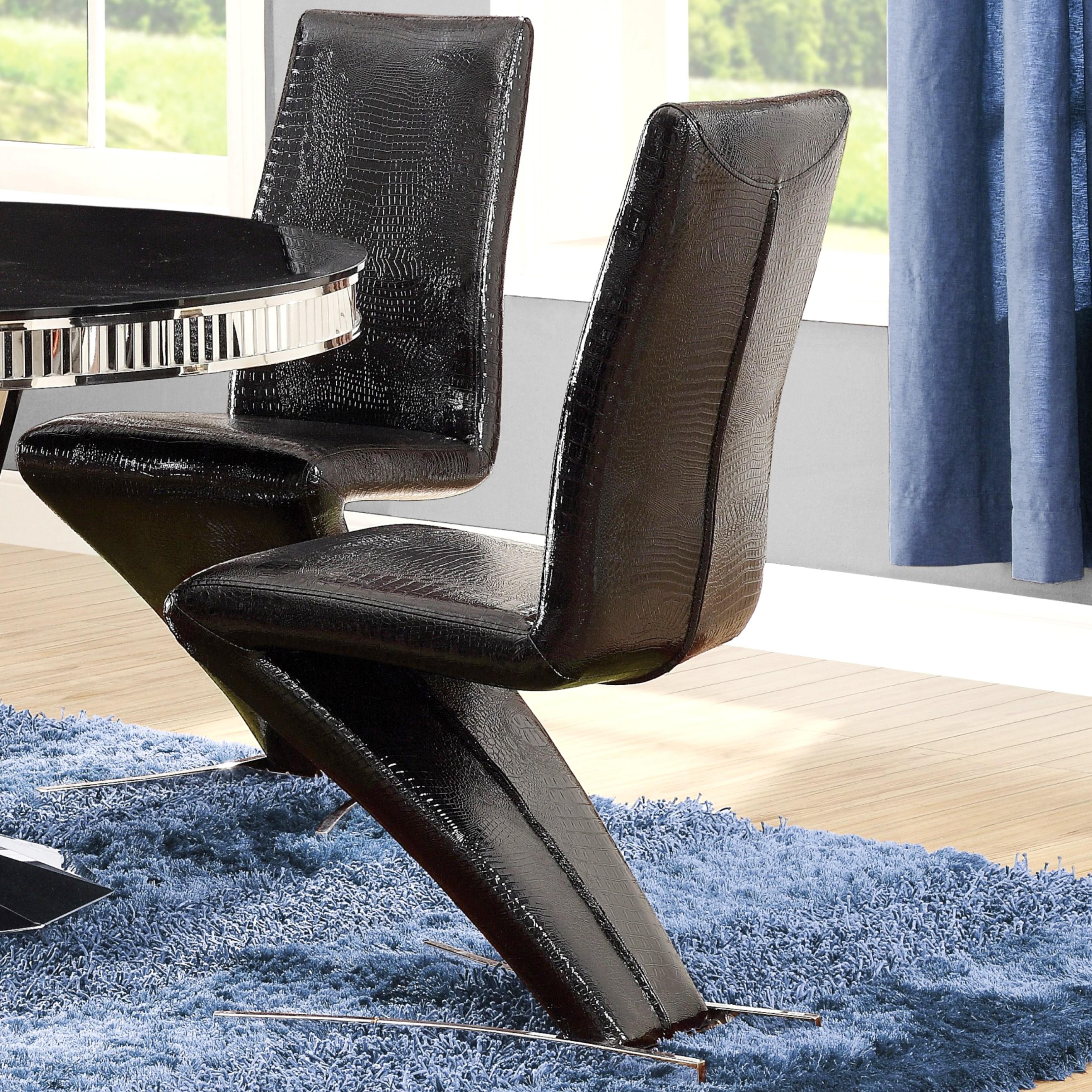 Mermaid Design Crocodile Upholstered Dining Chairs (Set o...