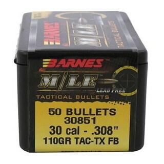 Barnes Bullets TAC-TX 30 Caliber, 110 Grain, Flat Base, per 50