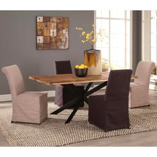 Natural Block Reclaimed Wood Design 7-piece Dining Set with Star-Shaped Metal Pedestal Base and Slip Covered Parson Chairs