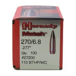 Hornady 270 Caliber Bullets /6.8 110gr BTHP/WC (Per 100)