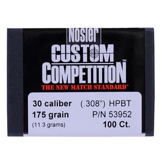 Nosler 30 Caliber Bullets Custom Competition, 175 Grains, Hollow Point Boat Tail, Per 100