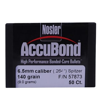 Nosler 6.5mm Bullets AccuBond, 140 Grains, Bonded Spitzer Boat Tail, Per 50