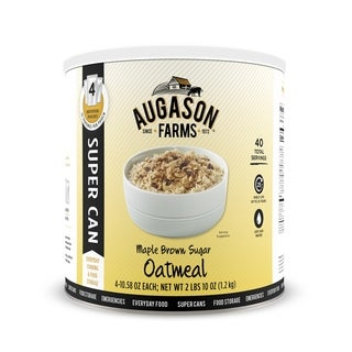 Augason Farms Maple Brown Sugar Oatmeal SUPER CAN No. 10 Can with 4 Individual Pouches