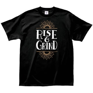 'Rise and Grind' Black Cotton Coffee Lovers T-shirt