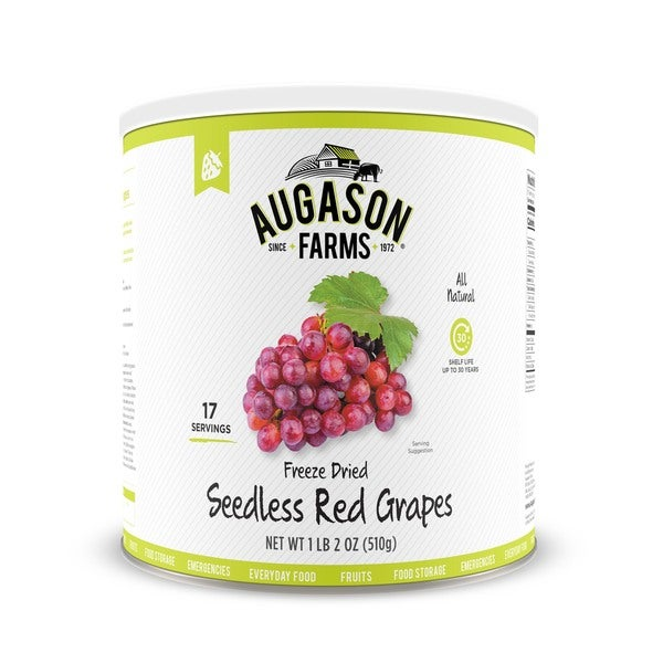 Augason Farms Freeze Dried Red Seedless Grapes 1 lb 2 oz No. 10 Can