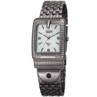Burgi Women's Diamond Dial Rectangular Buckle Design Dimpled Grey Bracelet Watch with GIFT BOX