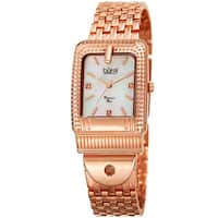 Burgi Women's Diamond Dial Rectangular Buckle Design Dimpled Rose-Tone Bracelet Watch
