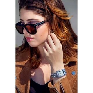 Burgi Women's Diamond Dial Rectangular Buckle Design Dimpled Silver-Tone Bracelet Watch