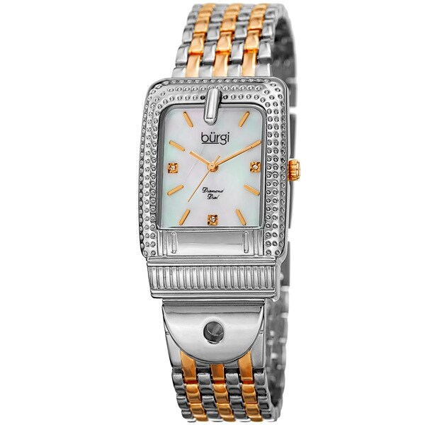 Burgi Women's Diamond Dial Rectangular Buckle Design Dimpled Two-Tone Bracelet Watch