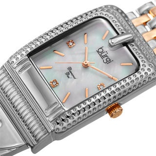 Burgi Women's Diamond Dial Rectangular Buckle Design Dimpled Two-Tone Bracelet Watch with FREE Bangle