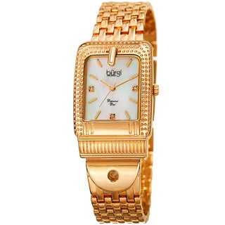 Burgi Women's Diamond Dial Rectangular Buckle Design Dimpled Gold-Tone Bracelet Watch with GIFT BOX