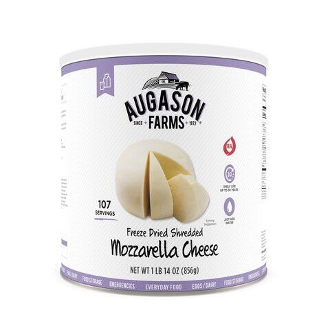 Augason Farms Freeze Dried Shredded Mozzarella Cheese 1 lb 14 oz No. 10 Can