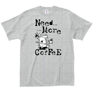 LA Imprints 'Need More Coffee' Grey Cotton T-Shirt
