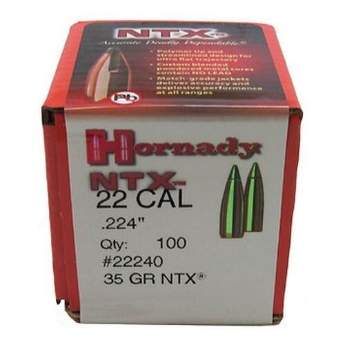 Hornady 22 Caliber Bullets (.224) 45 GR NTX (100 Per Box)