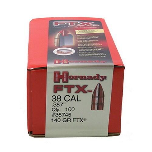 """Hornady 38 Caliber Bullets .357"""" 140gr (Per 100), Flex Tip"""