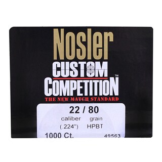 Nosler 22 Caliber Bullets Custom Competition, 80 Grains, Hollow Point Boat Tail, Per 1000