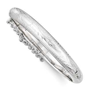 Sterling Silver Rhodium Plated Textured With Safety Hinged Child's Bangle, by Versil