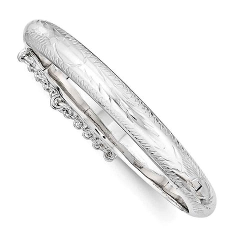 Sterling Silver Rhodium Plated Textured With Safety Hinged Child's Bangle by Versil