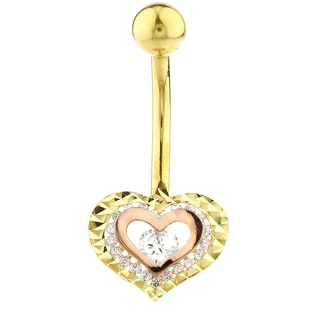 Two-tone 10k Gold Cubic Zirconia Double Heart Belly Button Ring
