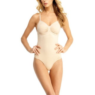 Memoi Women's Bodysuit With Thong, Adjustable Straps, and Underwire