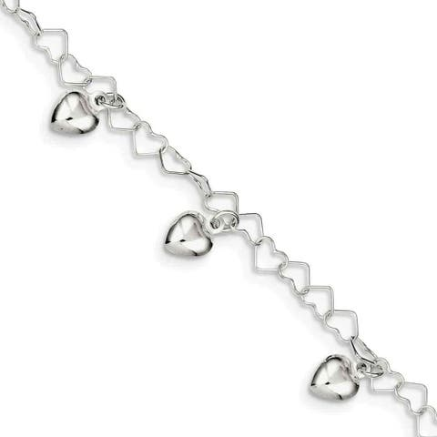 Sterling Silver Dangling Heart Bracelet by Versil