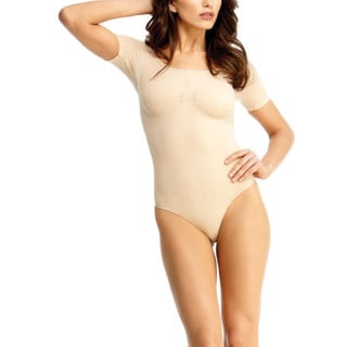 Memoi Women's Fabric Short-sleeve Bodysuit with Thong Shaper