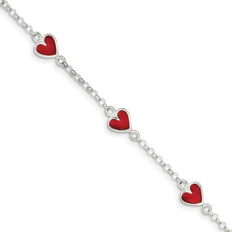 Sterling Silver Enamel Red Heart Child's Bracelet, by Versil