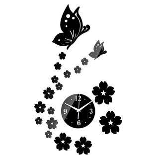 3D DIY Butterfly Flower Wall Clock