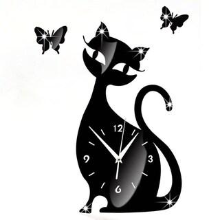 3D DIY Cat Butterfly Wall Clock