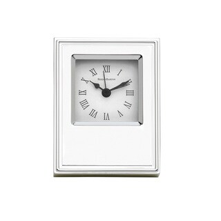 Reed Barton Classic Silvertone and White Metal Clock