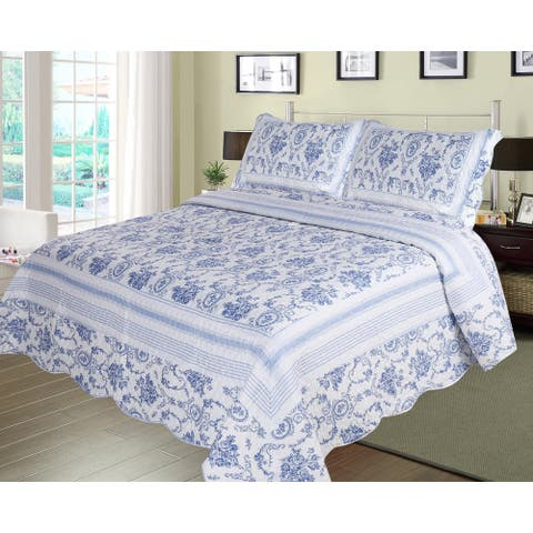 Patch Magic Blue Wisteria Lattice Quilt Set