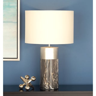 Urban Designs Grey and Silver 24-Inch Ceramic Column Table Lamp