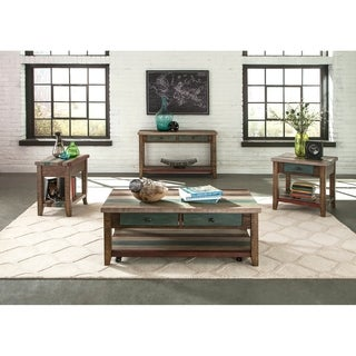 Boho Loft Rustic Multi Colored Rectangular Coffee Table w/casters