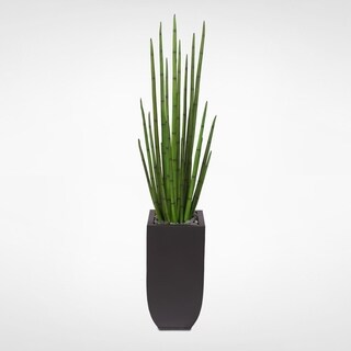 Artificial Four Foot Snake Grass Display with Real Rocks in Metal Container