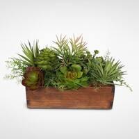 Artificial Echeveria and Sedum Succulent Garden in Wood Planter